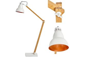 Bamboo LARGE FLOOR LAMP Adjustable Light Modern Scandi Industrial - White