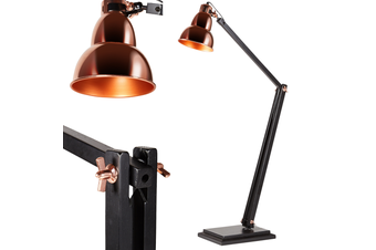 New York Retro LARGE Floor Lamp Light Modern Adjustable Wood Frame - Black