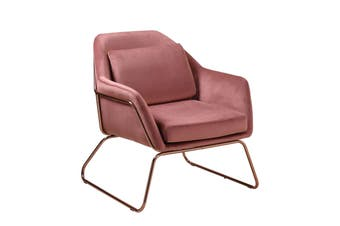Luxury Marco Velvet Armchair Modern Living Bedroom Relax Office Arm Chair - Pink
