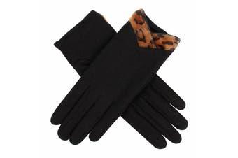 Dents Women's Wool Gloves With Cheetah Print Cuff Warm Winter Glove