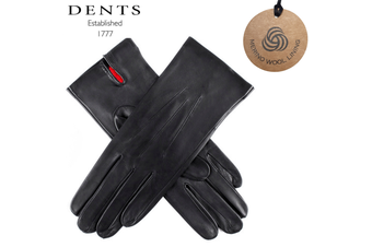 Dents Women's 3 Point Classic Leather Gloves with Australian Merino Wool Lining - Black