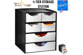 CEP 4-Tier Storage Station Drawers Home Office Stationary Box - Black/Metallic Grey