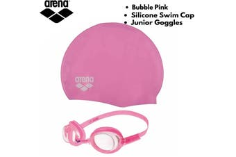 Arena Junior Training Pool Set Goggles + Silicone Swim Cap Swimming - Bubble Pink
