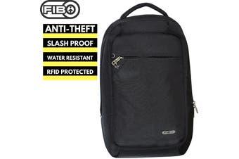 FIB Anti-Theft Slash Proof Backpack Bag w Laptop Pocket RFID Water Resistant - Black