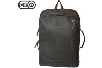 FIB Waxed Canvas Backpack Bag w Laptop Compartment Back Pack - Olive