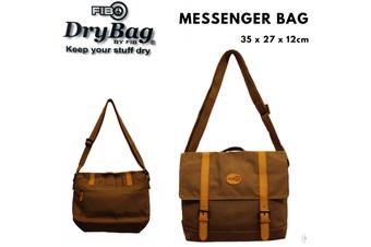 FIB Water Resistant Messenger Canvas Bag w Laptop Section - Sand