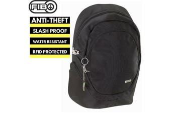 FIB Anti-Theft Slash Proof Back Pack RFID Bag w Laptop Pocket - Black