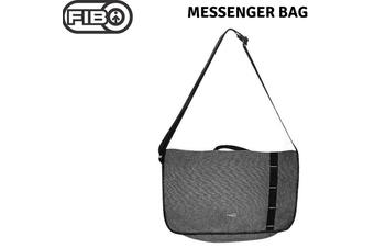 FIB Canvas Messenger Bag Laptop Tablet Uni Shoulder Travel - Black