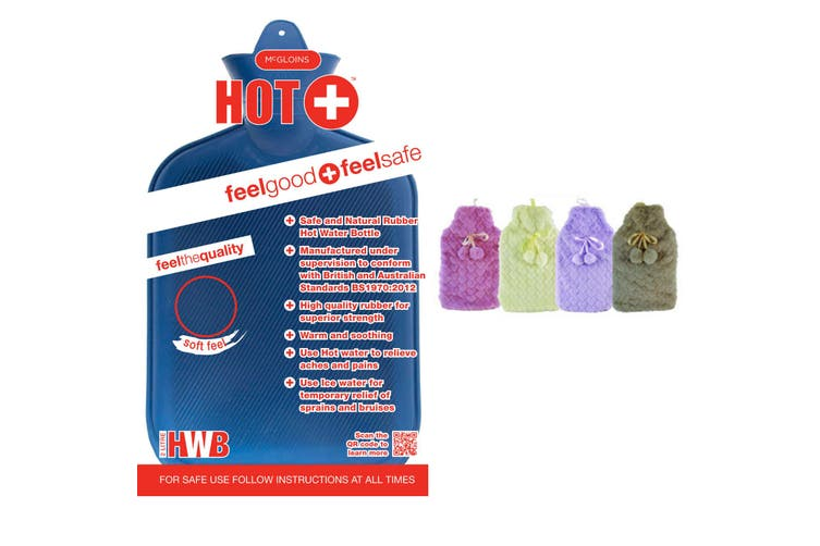 2L HOT WATER BOTTLE with Hearts Fleece Cover Winter Warm Natural Rubber Bag - ACCC Approved