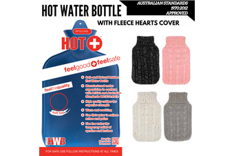 2L HOT WATER BOTTLE with Knit Sparkles Cover Winter Warm Natural Rubber Bag - ACCC Approved