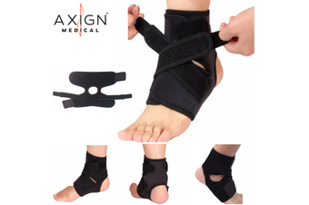 AXIGN Medical Ankle Support Brace Corrector Strap Elastic Adjustable Compression - Black