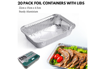 20x ALUMINIUM FOIL CONTAINERS WITH LIDS Large Tray BBQ Takeaway Roasting 22cm*15cmx*4.5cm