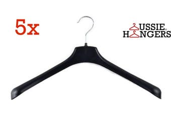 5x JACKET HANGER Heavy Duty 460mm Commercial Pants Clothing Coat Quality R51L