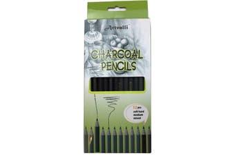 12 pcs CHARCOAL PENCILS Artist Drawing Sketching Shading Draw Sketch Art Craft