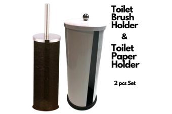 2Pcs Set Stainless Steel Toilet Brush Holder + Spare Toilet Roll Holder Storage