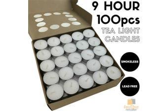 100pcs TEA LIGHT CANDLES 9 Hour Burn Tealight Wedding Smokeless Crystal Wax BULK
