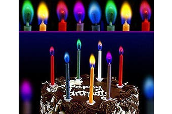 12x Birthday Party Cake Candles Magic Coloured Flames Candle Cool Fun Amazing