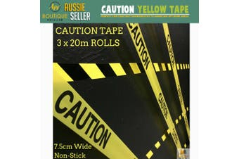 3x CAUTION TAPE Yellow Safety Warning Barricade Industrial Strip Non-Stick 20m