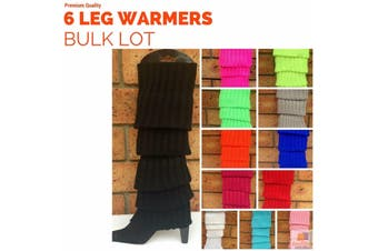 6x LEG WARMERS Knitted Womens Costume Neon Dance Party Knit 80s BULK New