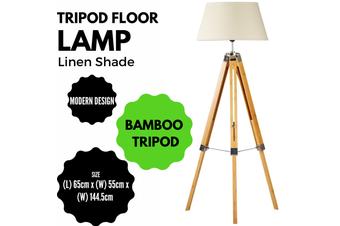 LARGE TRIPOD FLOOR LAMP Linen Shade Modern Light Bamboo Vintage Wooden Retro