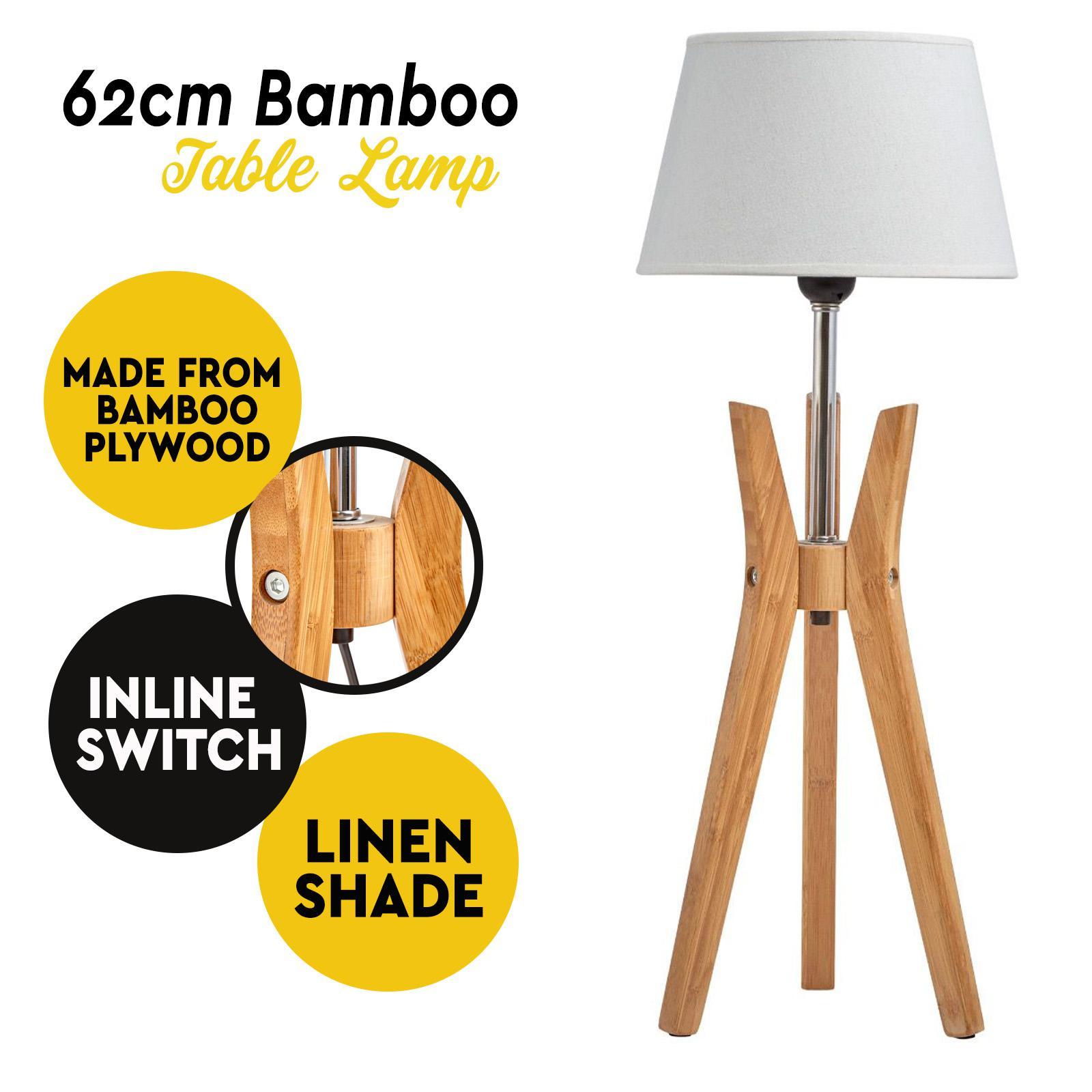 Designer Bamboo Table Lamp Tripod Base Linen Shade Modern Rustic Geo Light Matt Blatt