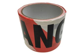 DANGER TAPE Red White Safety Warning Barricade Barrier Strip Non-Stick 20m New