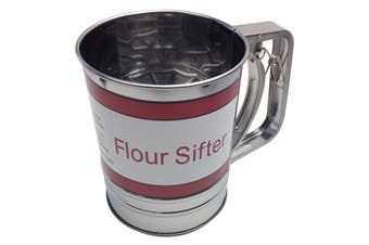 FLOUR SIFTER 3 Cup Stainless Steel Strainer Kitchen Baking Shaker Crank Action