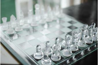IMPERIAL GLASS CHESS SET Frosted 20cm x 20cm Games