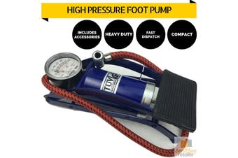 HIGH PRESSURE FOOT PUMP Ball Bicycle Motorbike Car Tire Inflator Tyre Air New