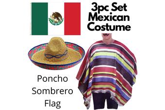 3pc Set Mexican Flag + Poncho + Sombrero Set Costume Wild West Cowboy Party