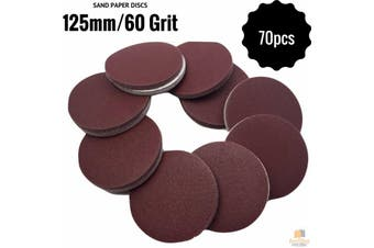 "70pcs 125mm 5"" Sandpaper Discs 60 Grit Sanding Sheets Sand Paper BULK Sanding"