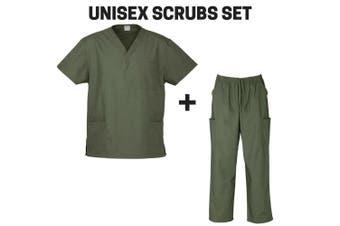 Unisex Classic SCRUBS SET Medical Nursing Vet Uniform Top & Pants H10612 H10610