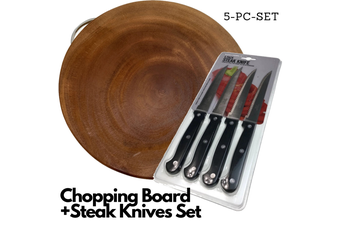 5pc Set Wooden Chopping Board + Steak Knives Set Stainless Steel Cutlery