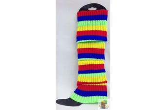 RAINBOW LEG WARMERS High Knitted Womens Neon Party Knit Ankle Socks 80s Dance