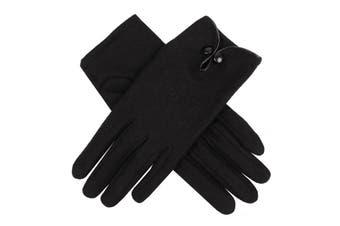 DENTS Ladies Women's 100% Wool Gloves Unlined Warm - Black
