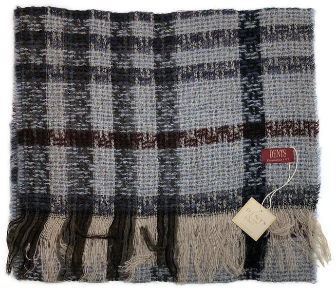 DENTS Check Open Weave Scarf Wool Blend Winter Warm MADE IN ITALY