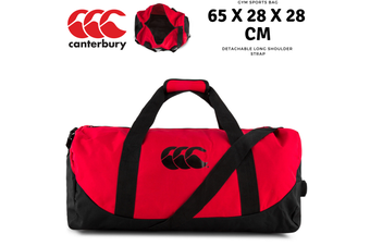 Canterbury 51L Packaway Bag Sports Gym Duffle Duffle Travel - Flag Red