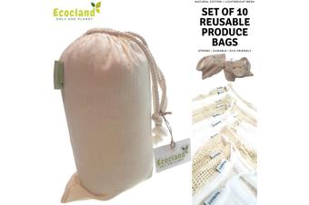 Set of 10 ECOCLAND Reusable Mesh Produce Bags Fruit Grocery Storage Washable Eco Bag