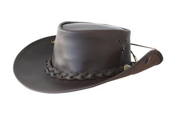 Jacaru Boundary Rider Anzac Style Bovine Cow Leather Hat Chinstrap Side Snaps