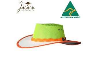 JACARU Hi Vis Safety Kooler Hat High Visibility Canvas Sun Protection Vented