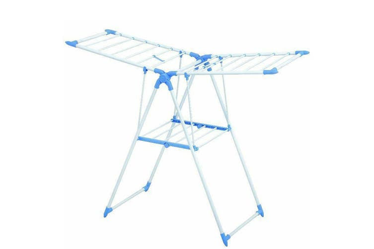 Foldable 2 Tier Blue Aluminium Clothes Drying Airing Rack Stand Adjustable