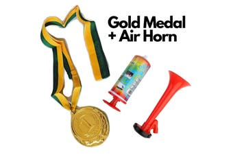 1st Gold Medal Winner + Air Horn Party Set School Sports Day Olympics Ribbon