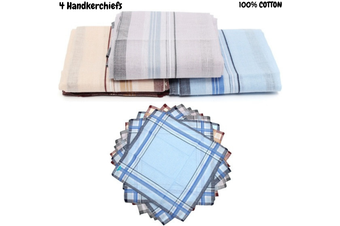 4x Mens HANDKERCHIEFS 100% Cotton Pocket Square Hanky Handkerchief New 35x35cm