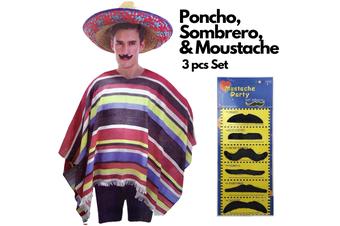 3pc Set Men's Mexican Poncho + Sombrero + Moustache Spanish Cowboy Costume Party
