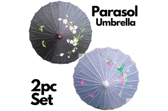 2pc Set Parasol Umbrella Black + White Chinese Japanese Bamboo Flower Pattern