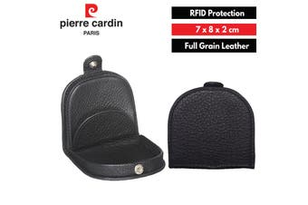 Pierre Cardin Italian Leather Coin Purse Genuine Wallet RFID Protection - Black