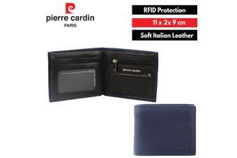 Pierre Cardin Men's Wallet RFID Blocking Genuine Italian Leather - Navy