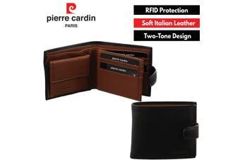 Pierre Cardin Men's Italian Leather Two Tone Wallets - Black Cognac