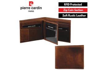 Pierre Cardin Men's Soft Rustic Leather RFID Protected Wallet - Cognac