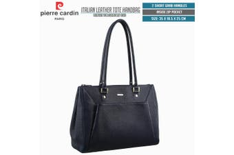 Pierre Cardin Italian Leather Tote Handbag Computer Laptop Office Work Bag - Navy